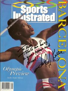 Jackie Joyner-Kersee's autograph on a 1992 Sports Illustrated.