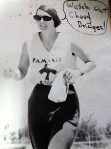 Betty Cunneen running for the Pamakids in the 1970's and going after marathon record holder Cheryl Bridges.